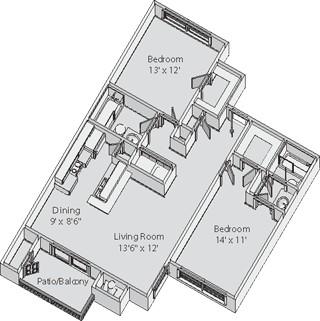 1,020 sq. ft. FARRINGTON floor plan