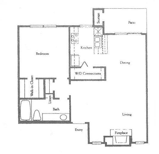 755 sq. ft. A2 floor plan