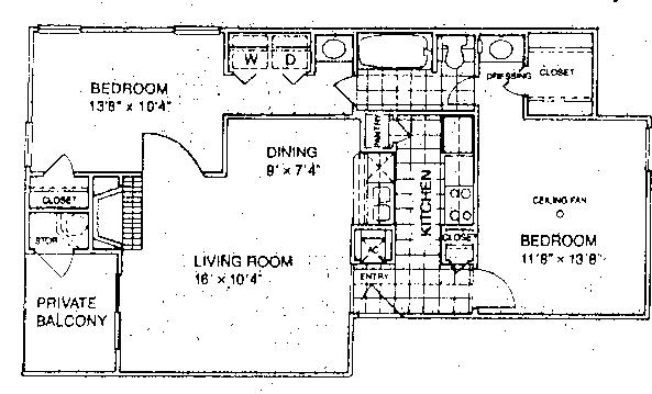 811 sq. ft. D1/60 floor plan