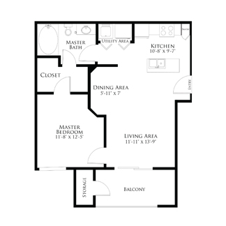 607 sq. ft. 1A1.3 floor plan