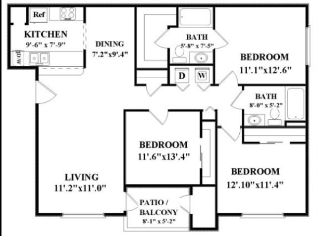 1,186 sq. ft. RIO GRANDE floor plan