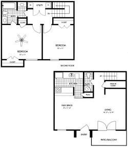 978 sq. ft. floor plan