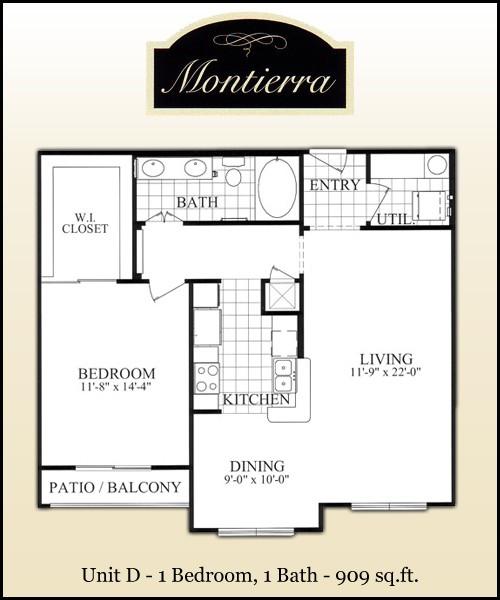 909 sq. ft. D floor plan