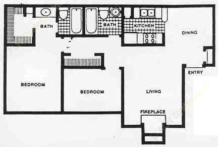 911 sq. ft. 60% floor plan