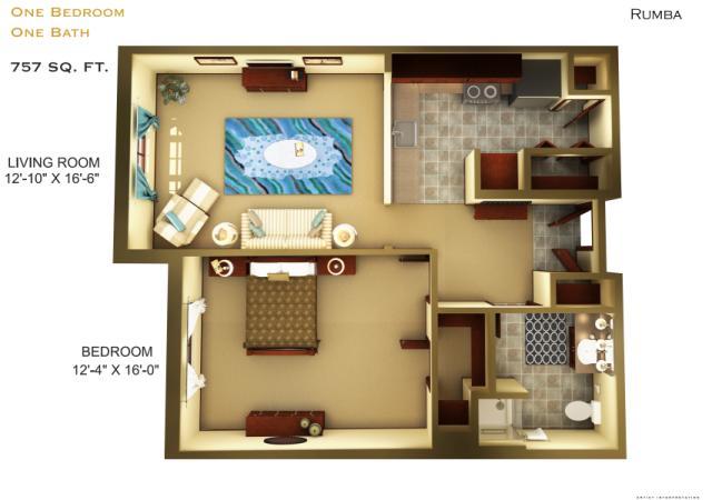 757 sq. ft. B2 floor plan