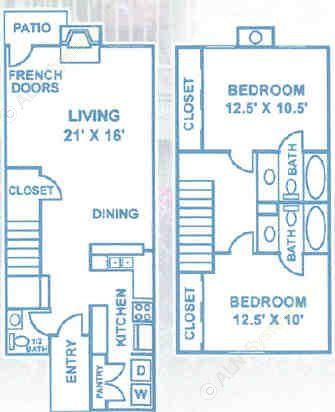 1,134 sq. ft. B3 floor plan