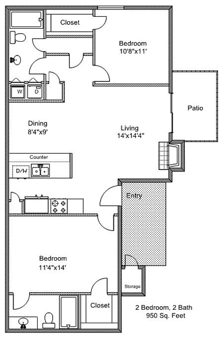 950 sq. ft. B2 floor plan