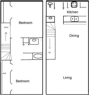 967 sq. ft. B1.5 floor plan