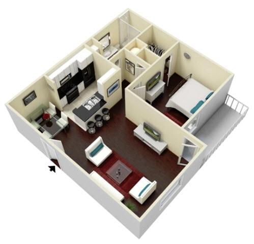 657 sq. ft. Willow floor plan