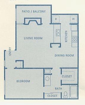 775 sq. ft. A8 floor plan