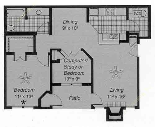 856 sq. ft. II E floor plan