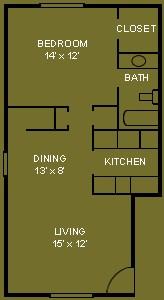 604 sq. ft. A2 floor plan