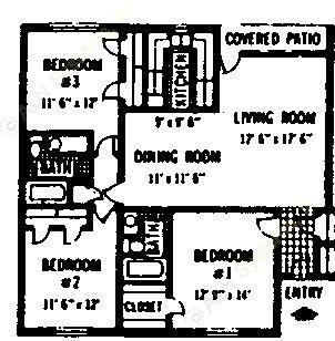 1,108 sq. ft. C floor plan