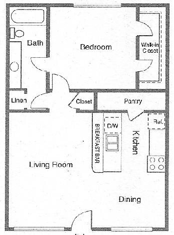 700 sq. ft. MANCHESTER floor plan