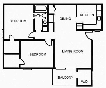 949 sq. ft. B floor plan