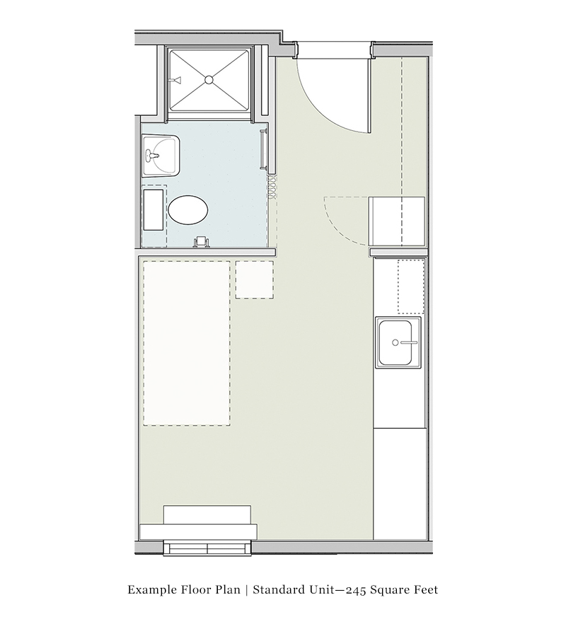 240 sq. ft. 50% floor plan