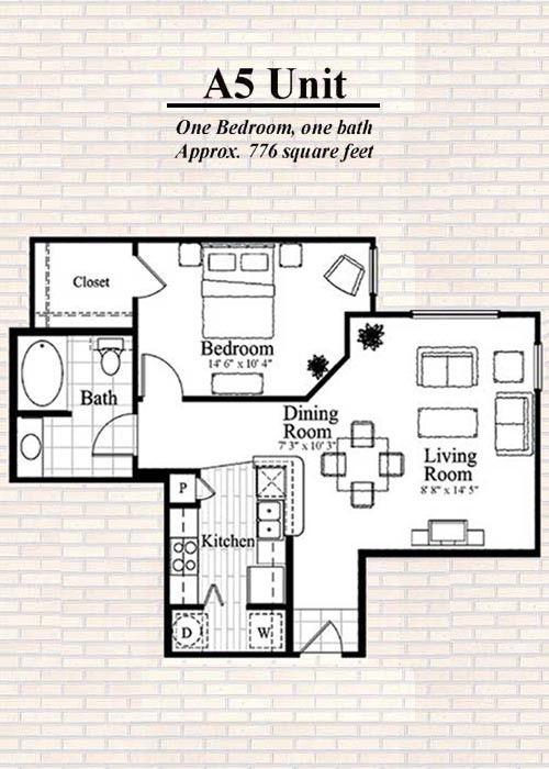 776 sq. ft. to 789 sq. ft. A5 floor plan