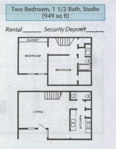 949 sq. ft. B3 floor plan