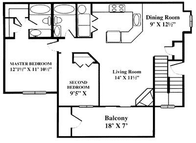 978 sq. ft. B1 floor plan