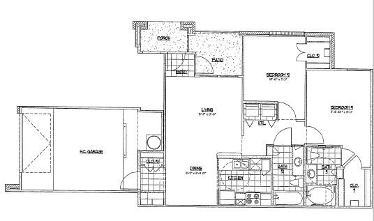 1,009 sq. ft. D3 floor plan