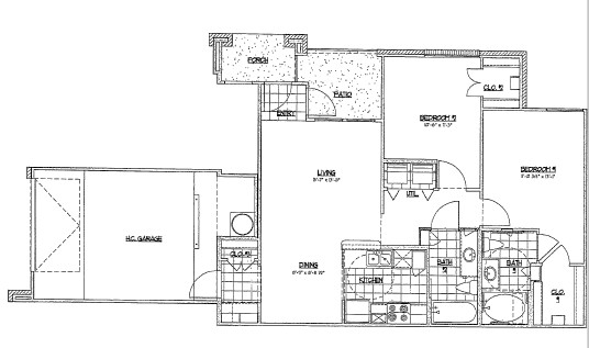 1,009 sq. ft. D3/60% floor plan