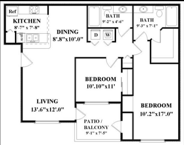 1,004 sq. ft. CYPRESS floor plan