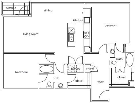 1,298 sq. ft. 1407 D floor plan