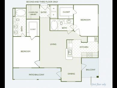 1,153 sq. ft. B7.2 floor plan