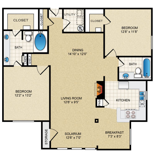 1,315 sq. ft. TARA SOL floor plan