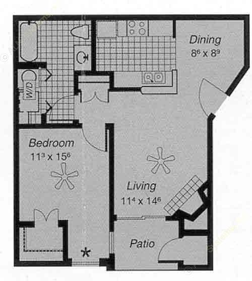 650 sq. ft. I A floor plan