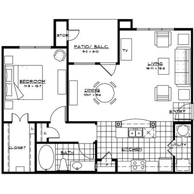 900 sq. ft. TORINO floor plan