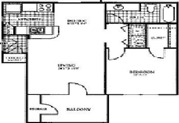 673 sq. ft. SLATE floor plan