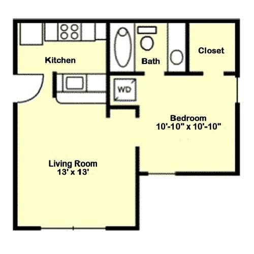 452 sq. ft. A2 floor plan