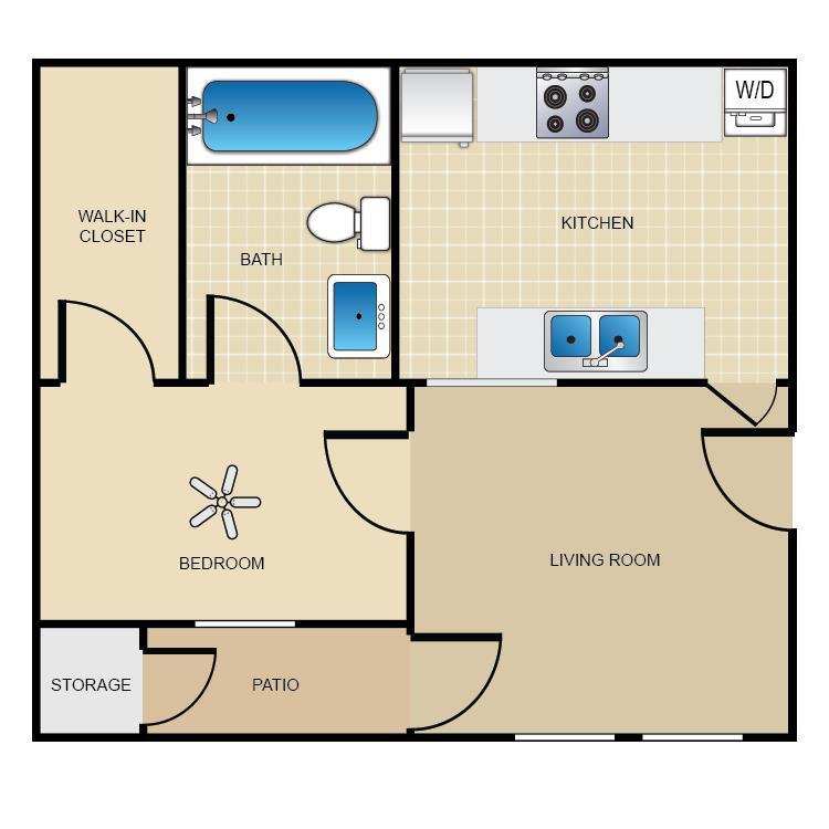 525 sq. ft. A1 floor plan