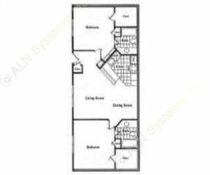 961 sq. ft. B2 floor plan