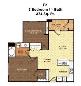 874 sq. ft. B1 floor plan