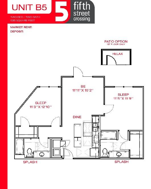 936 sq. ft. B5 floor plan
