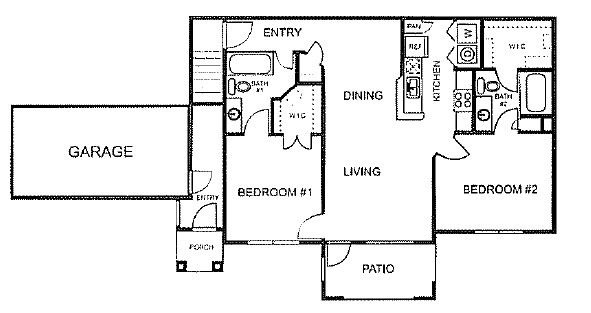 975 sq. ft. to 1,071 sq. ft. C/60% floor plan
