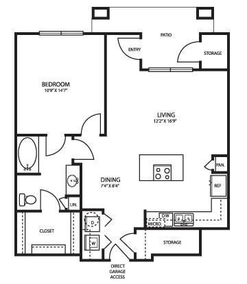 873 sq. ft. A3G floor plan