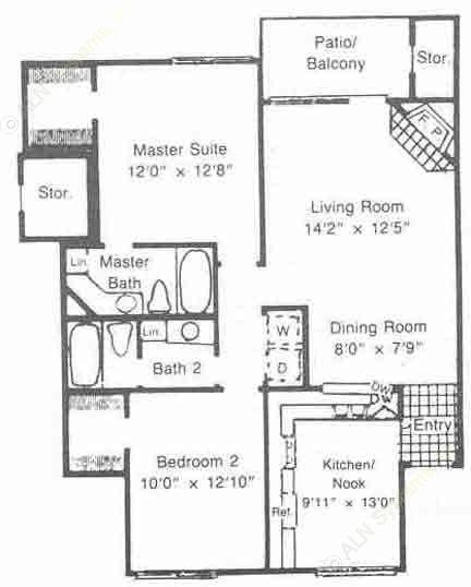 1,050 sq. ft. to 1,114 sq. ft. B2 floor plan