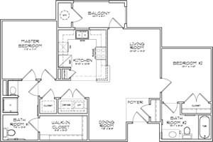 971 sq. ft. Verona 60% floor plan