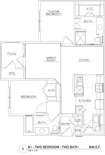 938 sq. ft. B1/60 floor plan