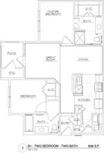 938 sq. ft. B1/60 floor plan