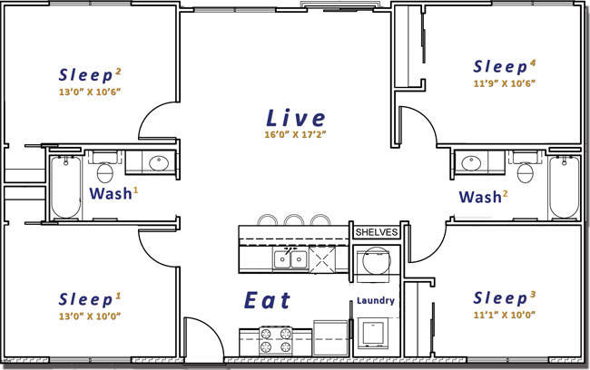 1,550 sq. ft. floor plan