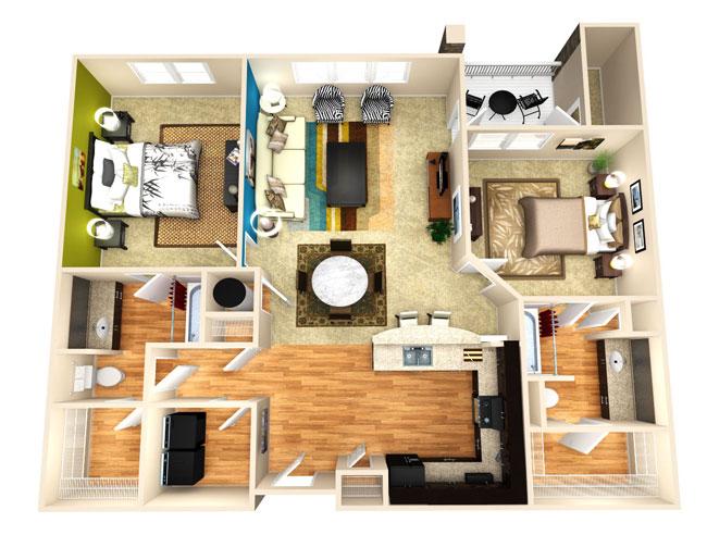 1,196 sq. ft. Achieve floor plan