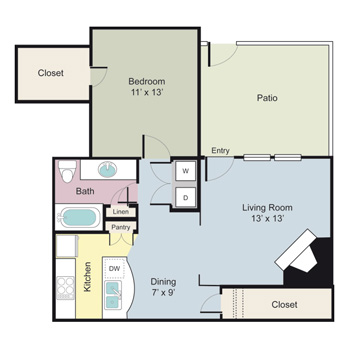 730 sq. ft. Waterford floor plan