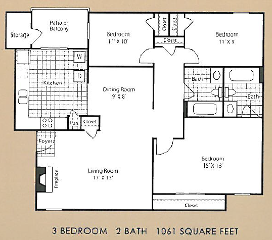 1,061 sq. ft. C2 floor plan