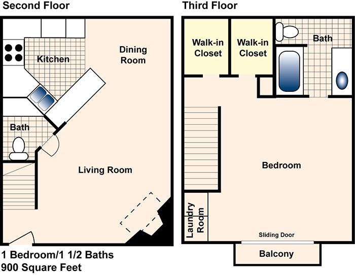 900 sq. ft. A floor plan
