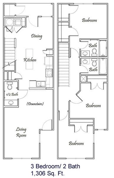 1,306 sq. ft. C1/60% floor plan