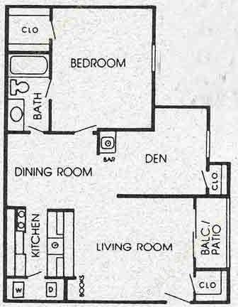 800 sq. ft. H floor plan